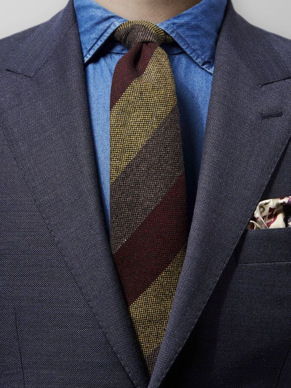 Burgundy Striped Wool Tie