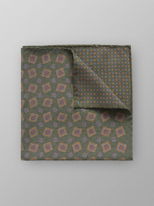 Green Square Fuji Silk Pocket Square