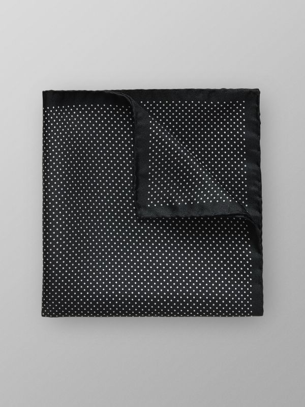 Black Polka Dots Silk Pocket Square