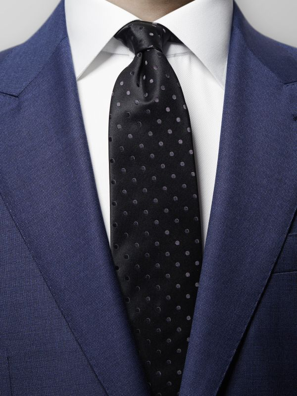Black Polka Dot Silk Tie