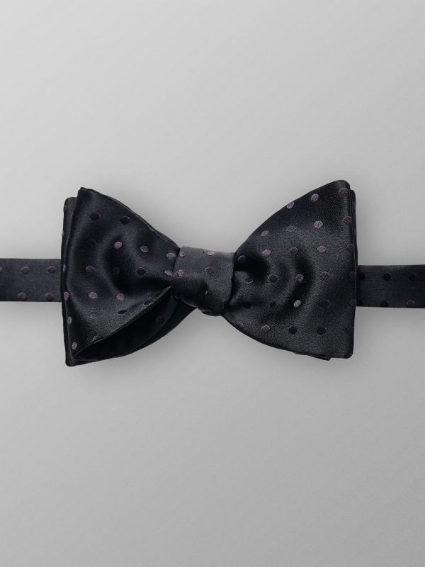 Black Dotted Silk Bow Tie
