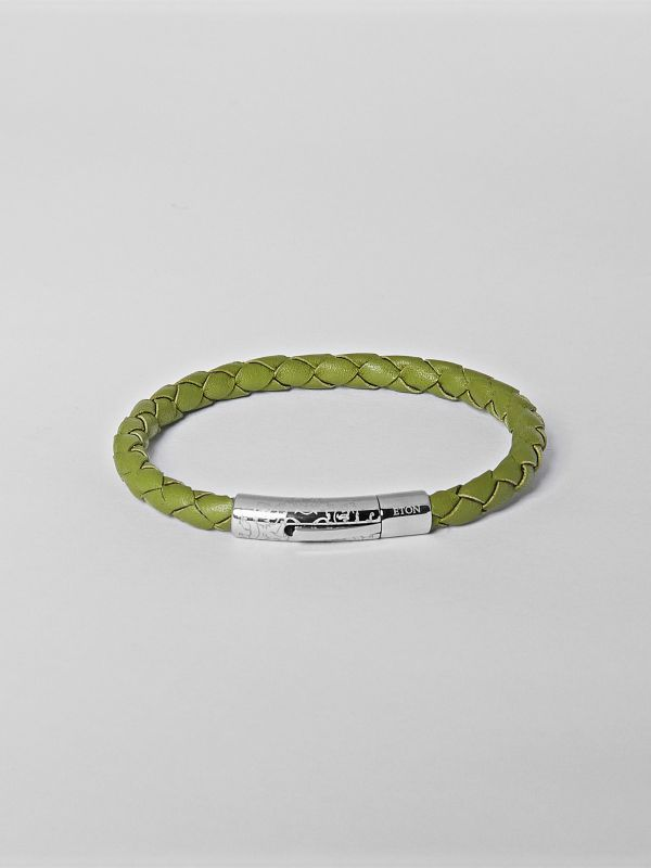Green Braided Leather Bracelet