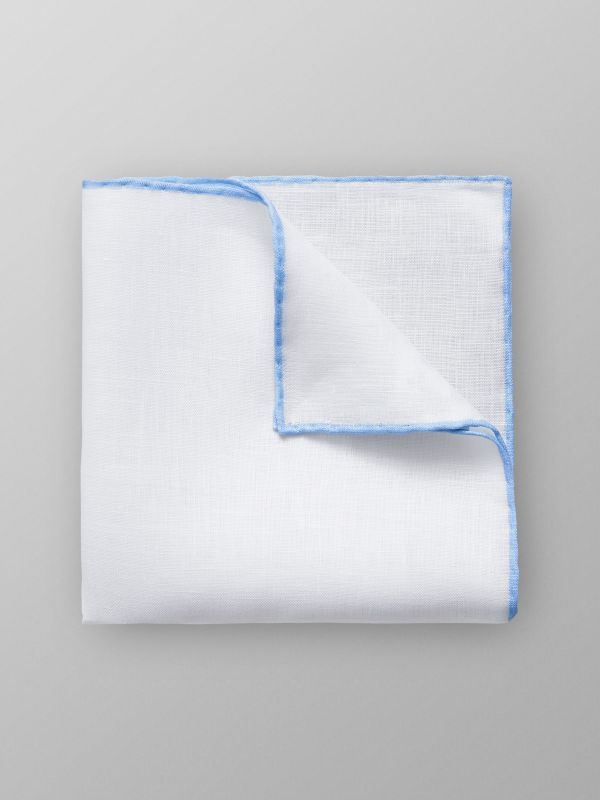 Blue Hem Linen Pocket Square