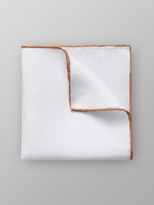 Beige Hem Linen Pocket Square