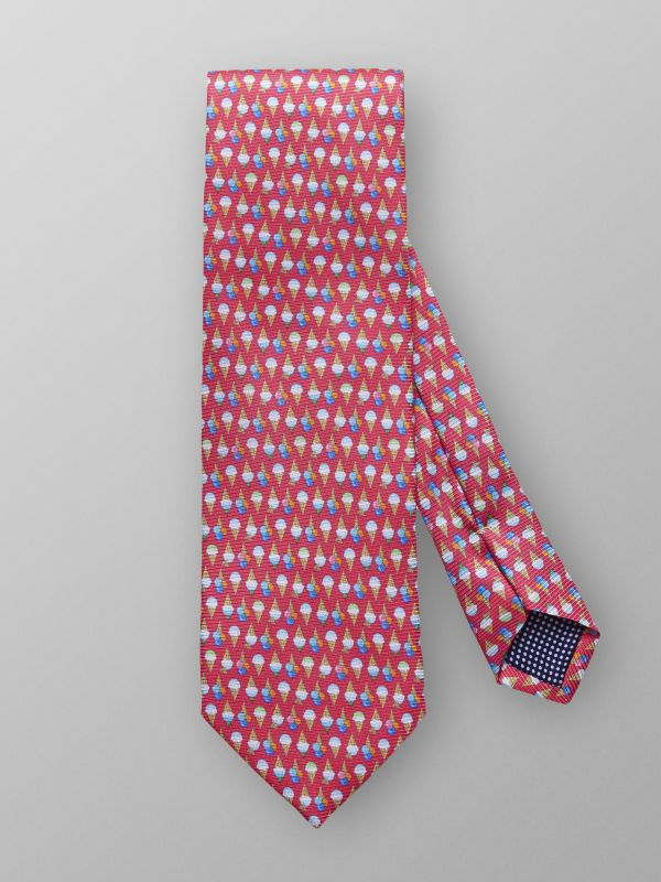Red Ice Cream Print Silk Tie