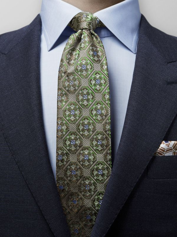 Green Geometric Medallion Silk Tie